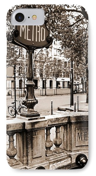 Metro Franklin Roosevelt - Paris - Vintage Sign And Streets IPhone Case by Carlos Alkmin
