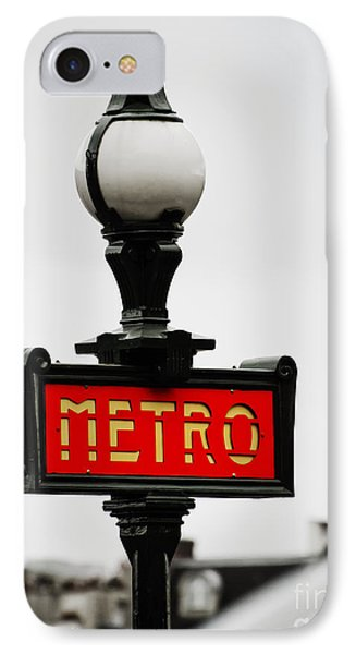 Metro Sign In Paris IPhone Case by MaryJane Armstrong