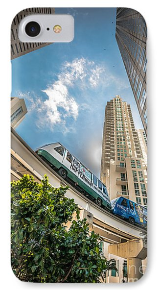 Metromover Working In Downtown Miami - Hdr Style IPhone Case by Ian Monk
