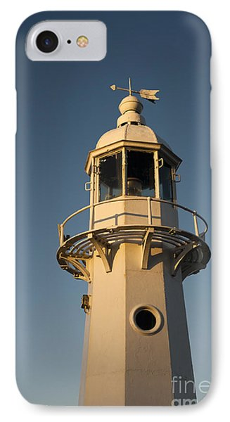 Mevagissey Lighthouse In The Evening IPhone Case by Anne Gilbert