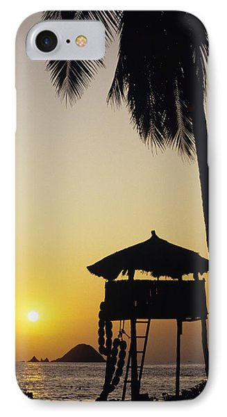 Mexico, Silhouette Of Beach Bungalow IPhone Case