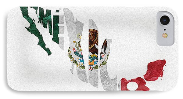 Mexico Typographic Map Flag IPhone Case by Ayse Deniz