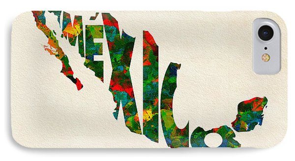 Mexico Typographic Watercolor Map IPhone Case by Ayse Deniz