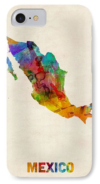 Mexico Watercolor Map Phone Case by Michael Tompsett