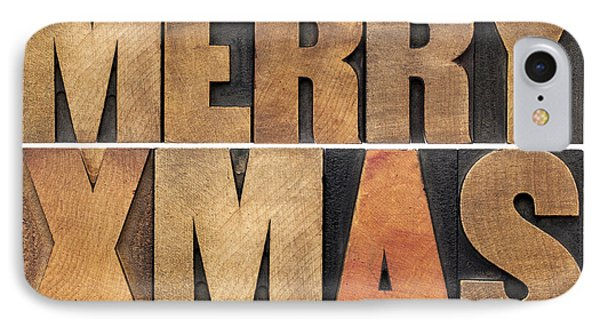 Meyy Xmas In Wood Type IPhone Case by Marek Uliasz