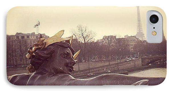 #mgmarts #france #paris #statue #bridge IPhone Case by Marianna Mills