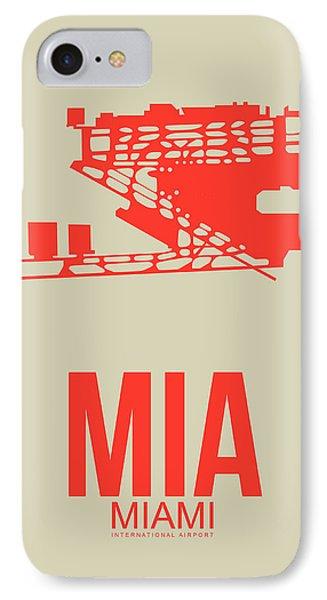 Mia Miami Airport Poster 3 IPhone Case by Naxart Studio