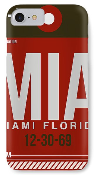 Mia Miami Airport Poster 4 IPhone 7 Case by Naxart Studio