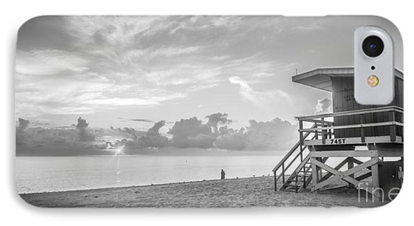 Miami Beach - 74th Street Sunrise - Panoramic - Black And White IPhone Case by Ian Monk