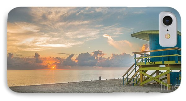 Miami Beach - 74th Street Sunrise - Panoramic IPhone Case by Ian Monk