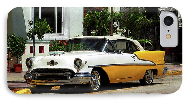 Miami Beach Classic Car With Watercolor Effect Phone Case by Frank Romeo