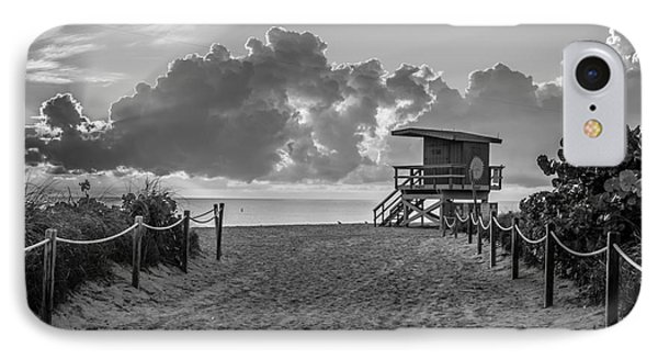 Miami Beach Entrance Sunrise - Black And White IPhone Case by Ian Monk