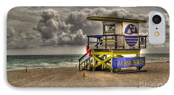 Miami Beach Lifeguard Stand IPhone Case by Timothy Lowry