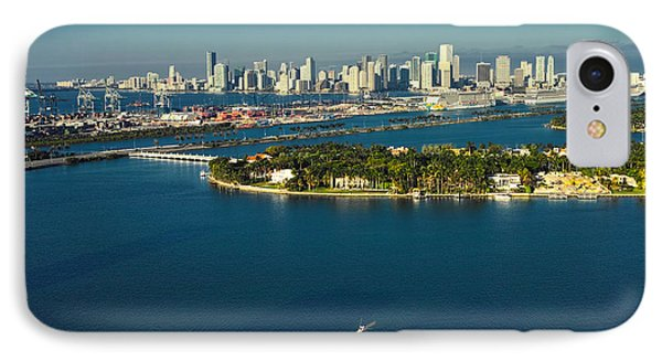 IPhone Case featuring the photograph Miami City Biscayne Bay Skyline by Gary Dean Mercer Clark