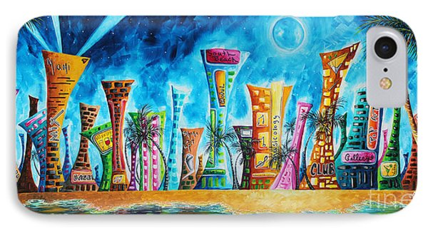 Miami City South Beach Original Painting Tropical Cityscape Art Miami Night Life By Madart Absolut X IPhone Case by Megan Duncanson