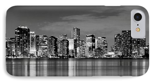 Miami iPhone 7 Case - Miami Skyline At Dusk Black And White Bw Panorama by Jon Holiday