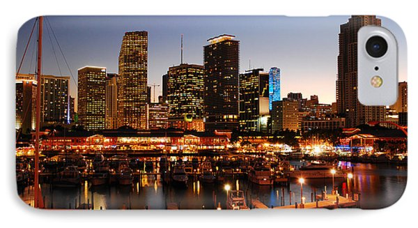 Miami Skyline At Dusk IPhone Case by James Kirkikis