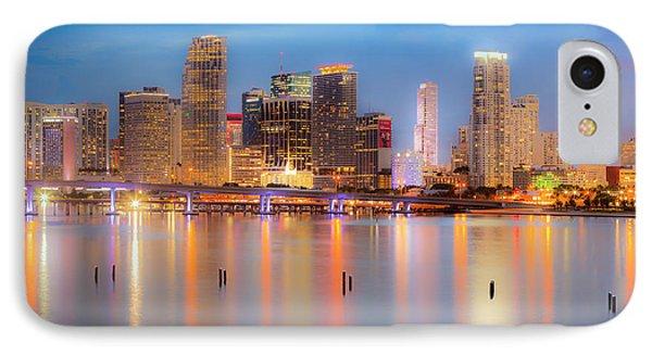 Miami Skyline On A Still Night- Soft Focus  IPhone Case