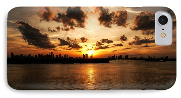 IPhone Case featuring the photograph Miami Skyline Sunset by Gary Dean Mercer Clark
