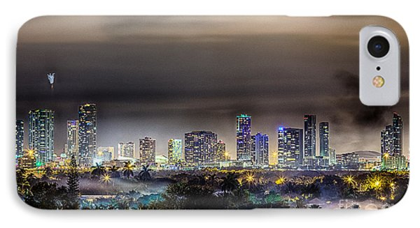 Miami Skyline-the Mystical City Hdr IPhone Case by Rene Triay Photography