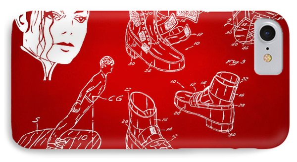Michael Jackson Anti-gravity Shoe Patent Artwork Red IPhone Case by Nikki Marie Smith