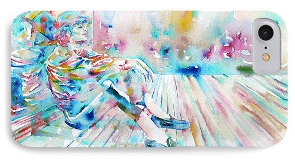 Michael Jackson - Watercolor Portrait.8 IPhone Case by Fabrizio Cassetta