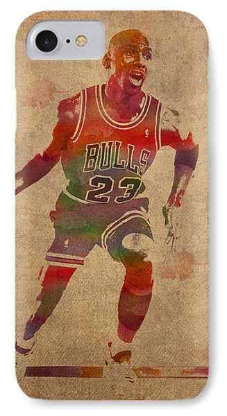Michael Jordan Chicago Bulls Vintage Basketball Player Watercolor Portrait On Worn Distressed Canvas IPhone Case
