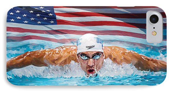 Michael Phelps Artwork IPhone Case by Sheraz A