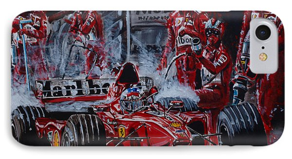 Michael Schumacher Out Of The Darkness IPhone Case by Juan Mendez