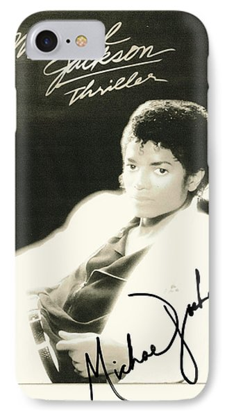 Micheal Jackson Signed Thriller Poster IPhone Case by Desiderata Gallery