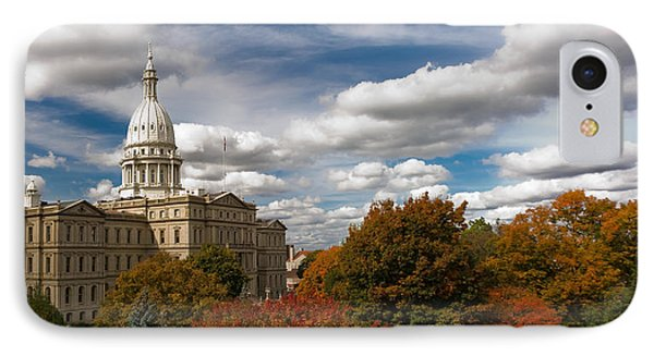 Michgan Capitol - Autumn IPhone Case by Larry Carr
