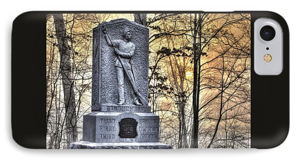 Michigan At Gettysburg - 5th Michigan Infantry Sunrise And Morning Mist In The Rose Woods IPhone Case by Michael Mazaika