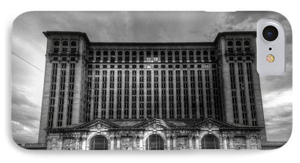 Michigan Central Station Bw IPhone Case by Jonathan Davison