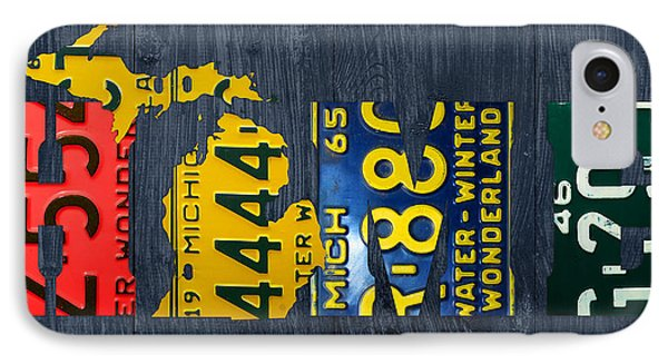 Michigan Home Recycled Vintage License Plate Art State Shape Lettering Phrase IPhone Case by Design Turnpike