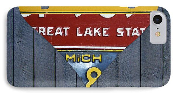 Marquette iPhone 7 Case - Michigan Love Heart License Plate Art Series On Wood Boards by Design Turnpike