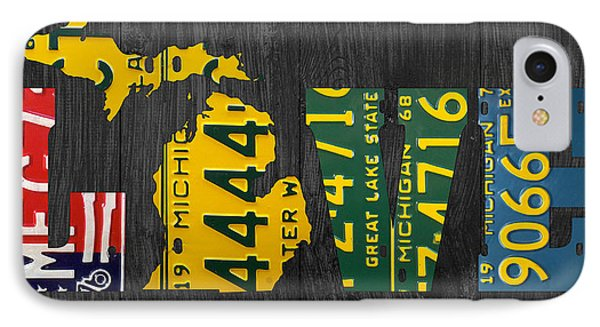 Michigan Love Recycled Vintage License Plate Art State Shape Lettering Phrase IPhone Case by Design Turnpike