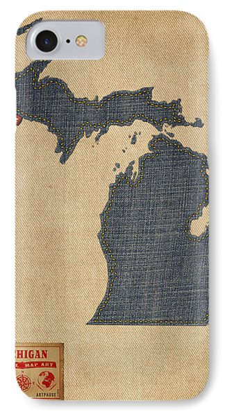 Michigan Map Denim Jeans Style IPhone Case
