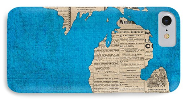 Michigan Map Made Of Vintage Newspaper Clippings On Blue Canvas IPhone Case