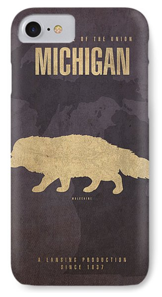 Michigan State Facts Minimalist Movie Poster Art  IPhone 7 Case by Design Turnpike