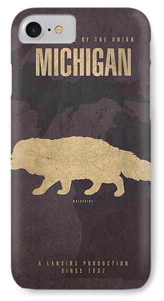 Michigan State Facts Minimalist Movie Poster Art  IPhone 7 Case
