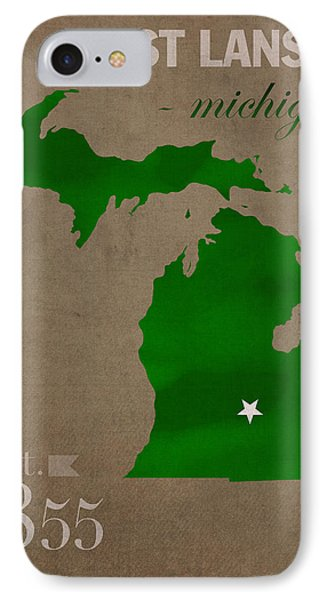 Michigan State University Spartans East Lansing College Town State Map Poster Series No 004 IPhone Case by Design Turnpike