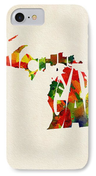 Michigan Typographic Watercolor Map IPhone Case by Ayse Deniz