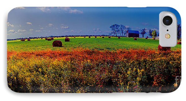 Michigan Uper  Farm Barn And Rolls Of Hay Brimly Michigan IPhone Case