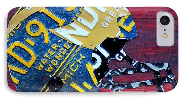Michigan Wolverines College Football Helmet Vintage License Plate Art IPhone Case by Design Turnpike