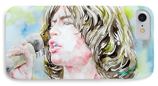 Mick Jagger Singing Watercolor Portrait Phone Case by Fabrizio Cassetta
