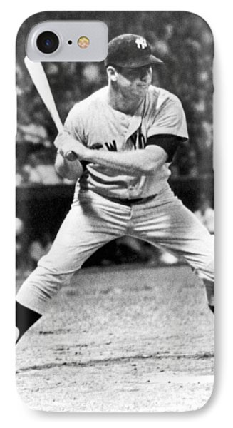 Mickey Mantle At Bat IPhone Case by Underwood Archives