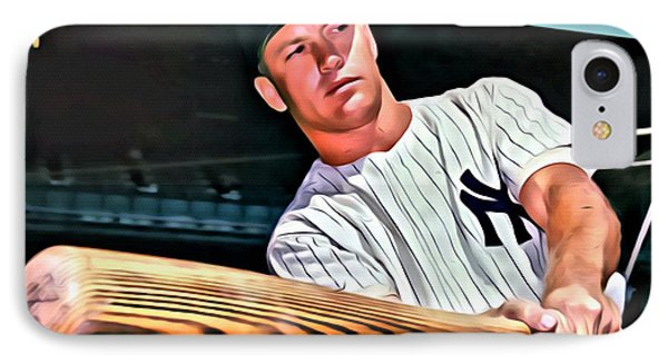 Mickey Mantle Painting IPhone Case by Florian Rodarte