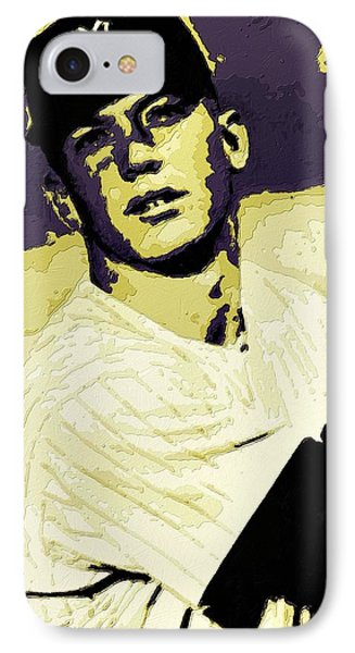 Mickey Mantle Poster Art IPhone Case by Florian Rodarte
