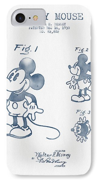Mickey Mouse Patent From 1930 - Blue Ink IPhone Case by Aged Pixel