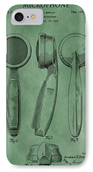 Microphone Patent Green IPhone Case by Dan Sproul